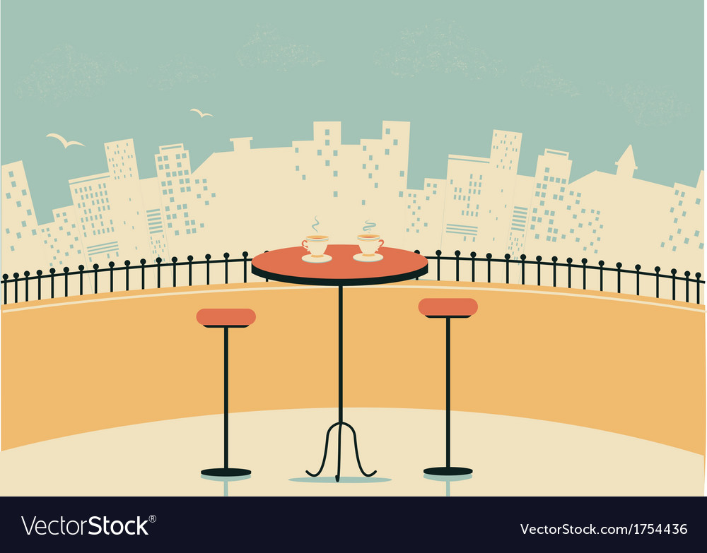 City cafe with table and cups of coffee vector