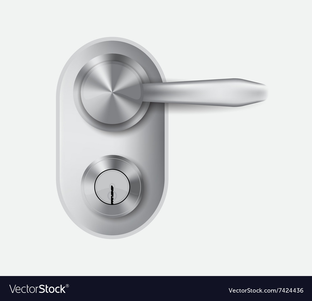 Metal door handle and door lock vector