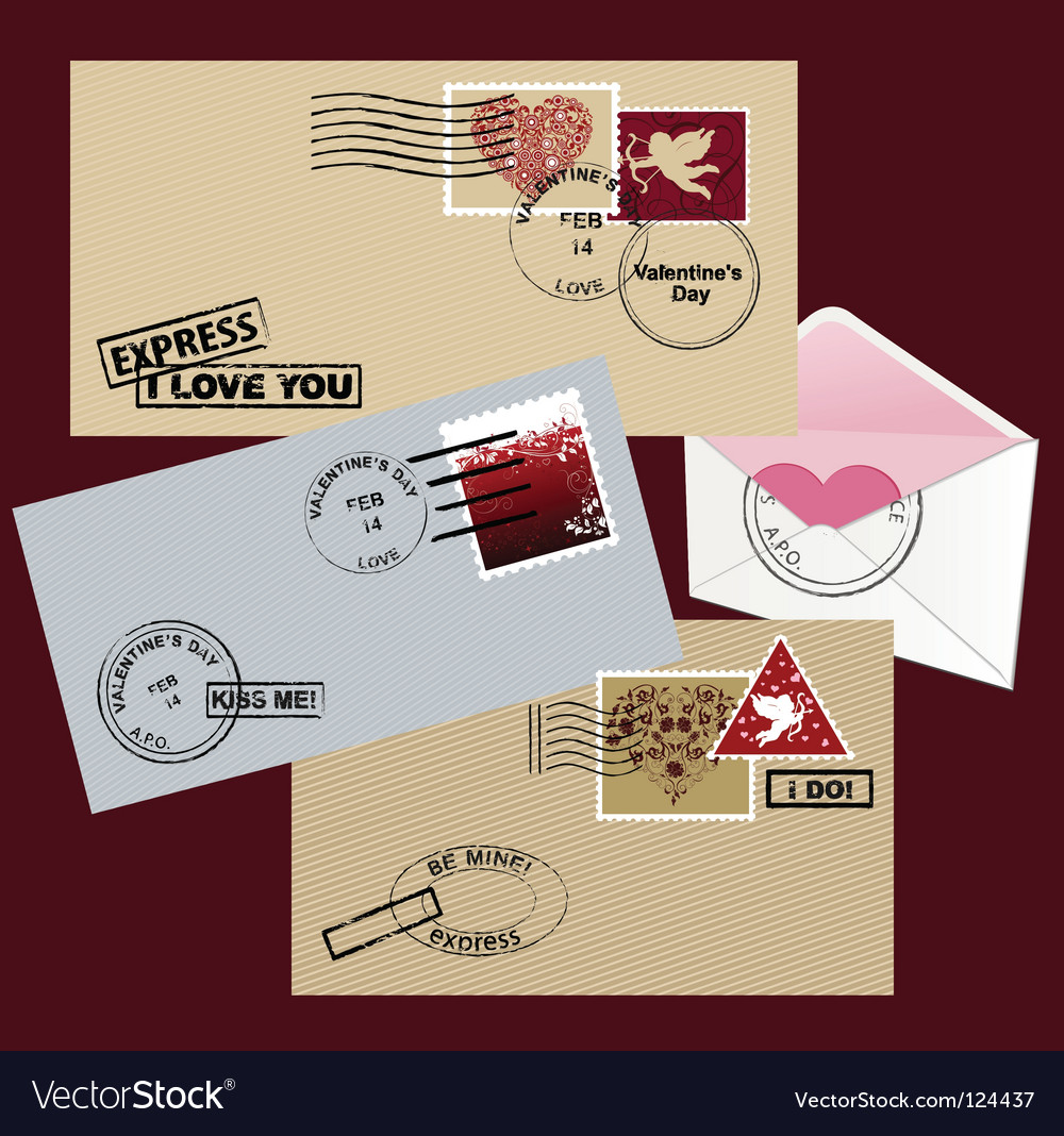 Valentines day envelope vector