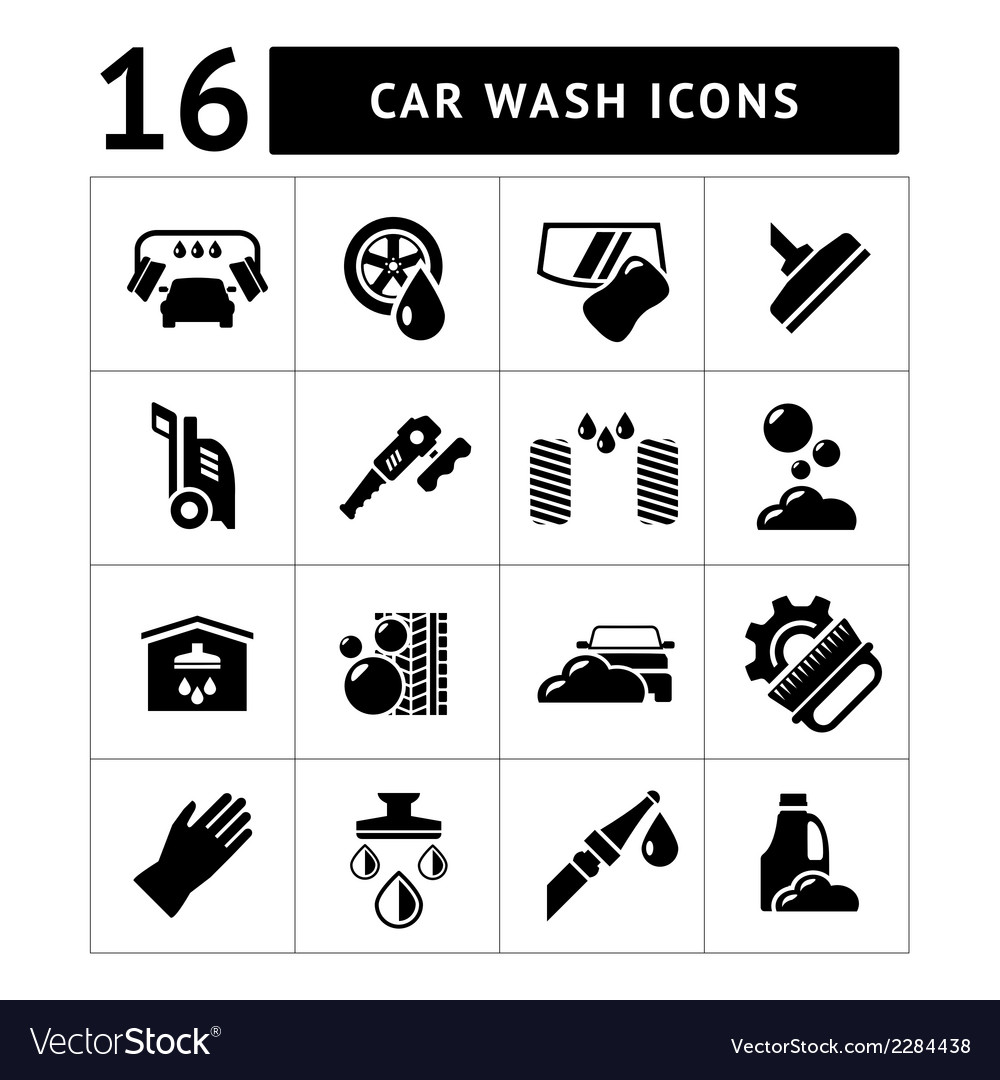 Set icons of car wash vector