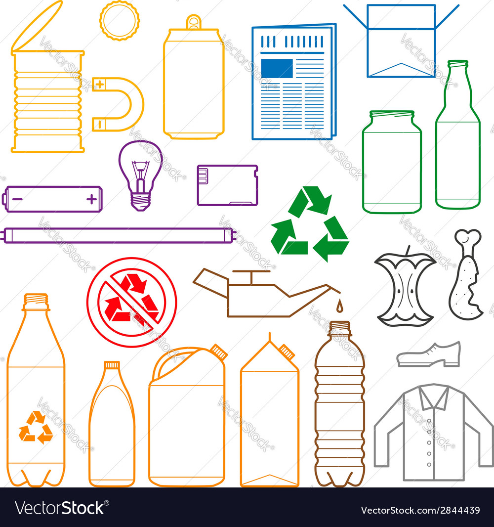 Color separated waste outlines icons vector