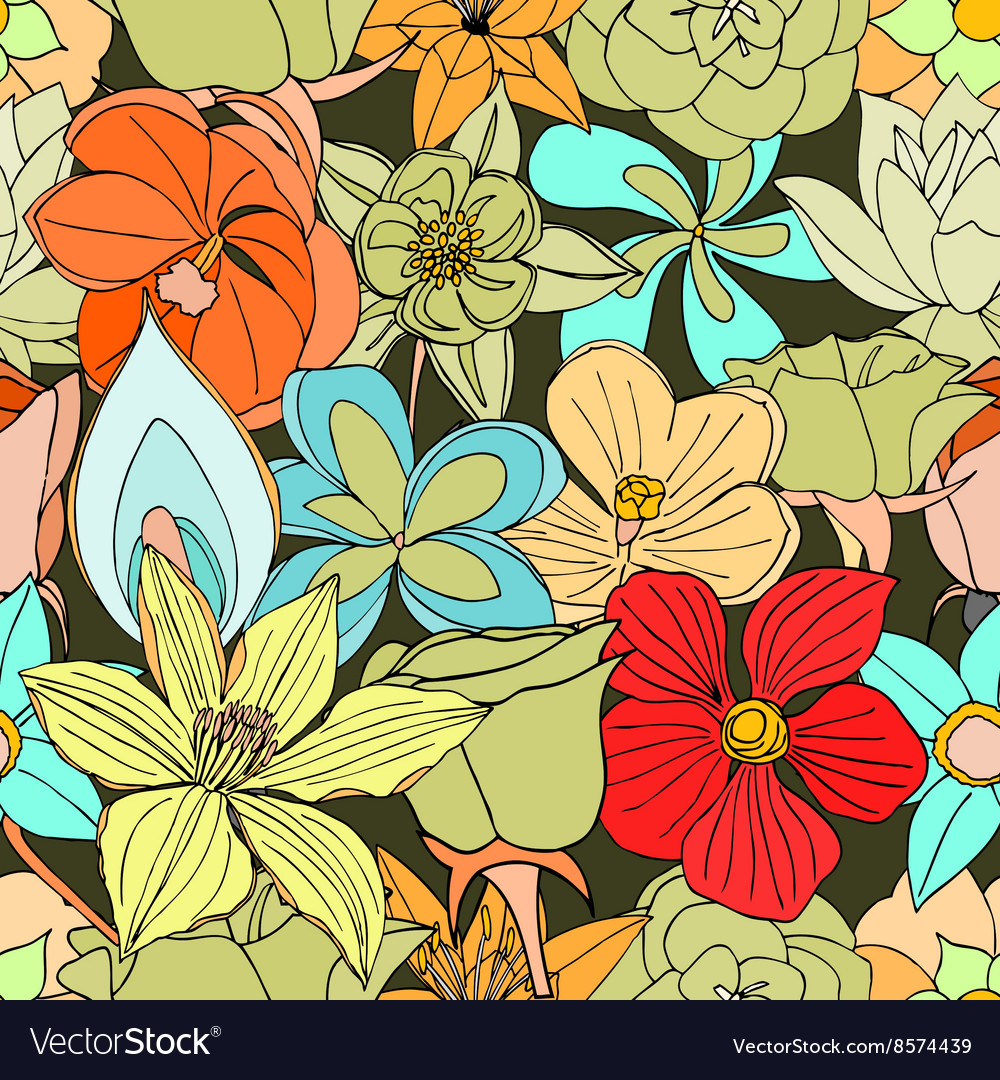 Seamless pattern from many flowers vector