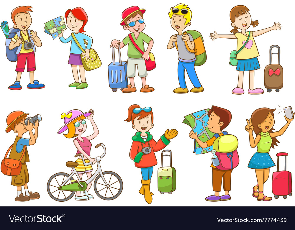 Set of travel cartoon character vector