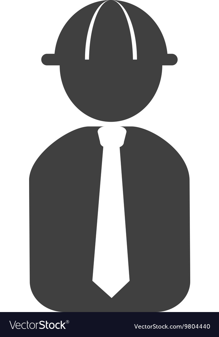 Engineer with helmet and tie vector
