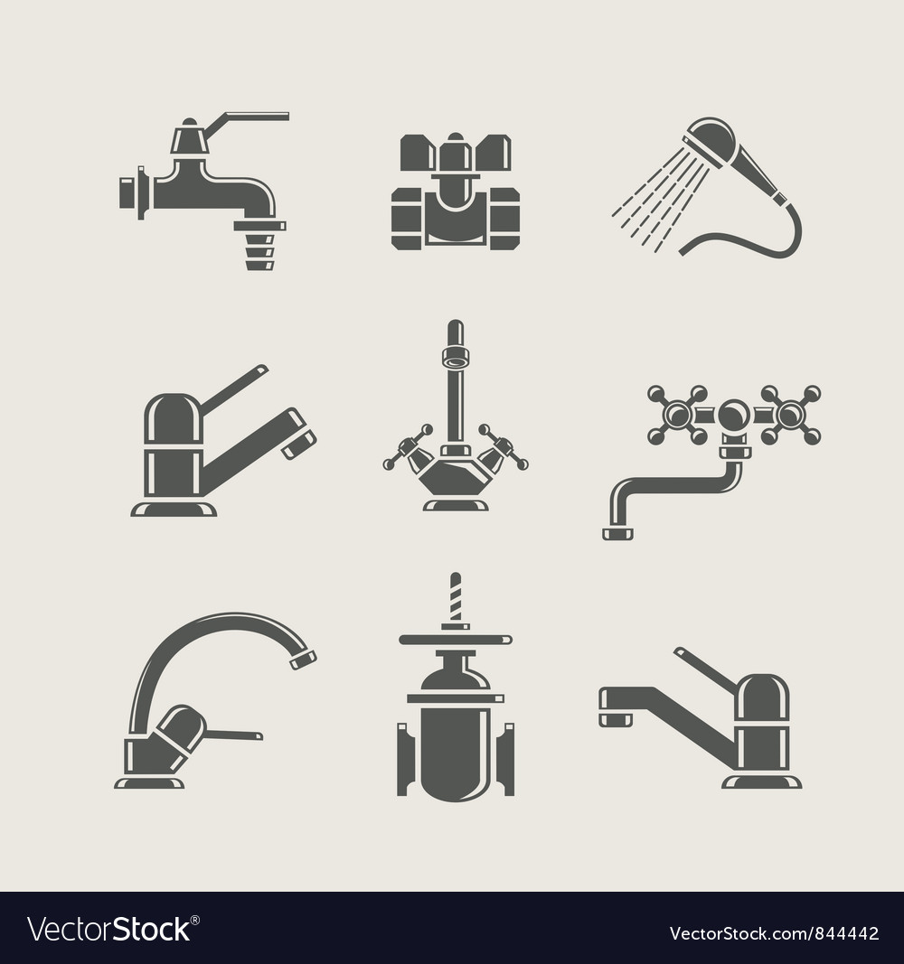 Watersupply faucet mixer vector