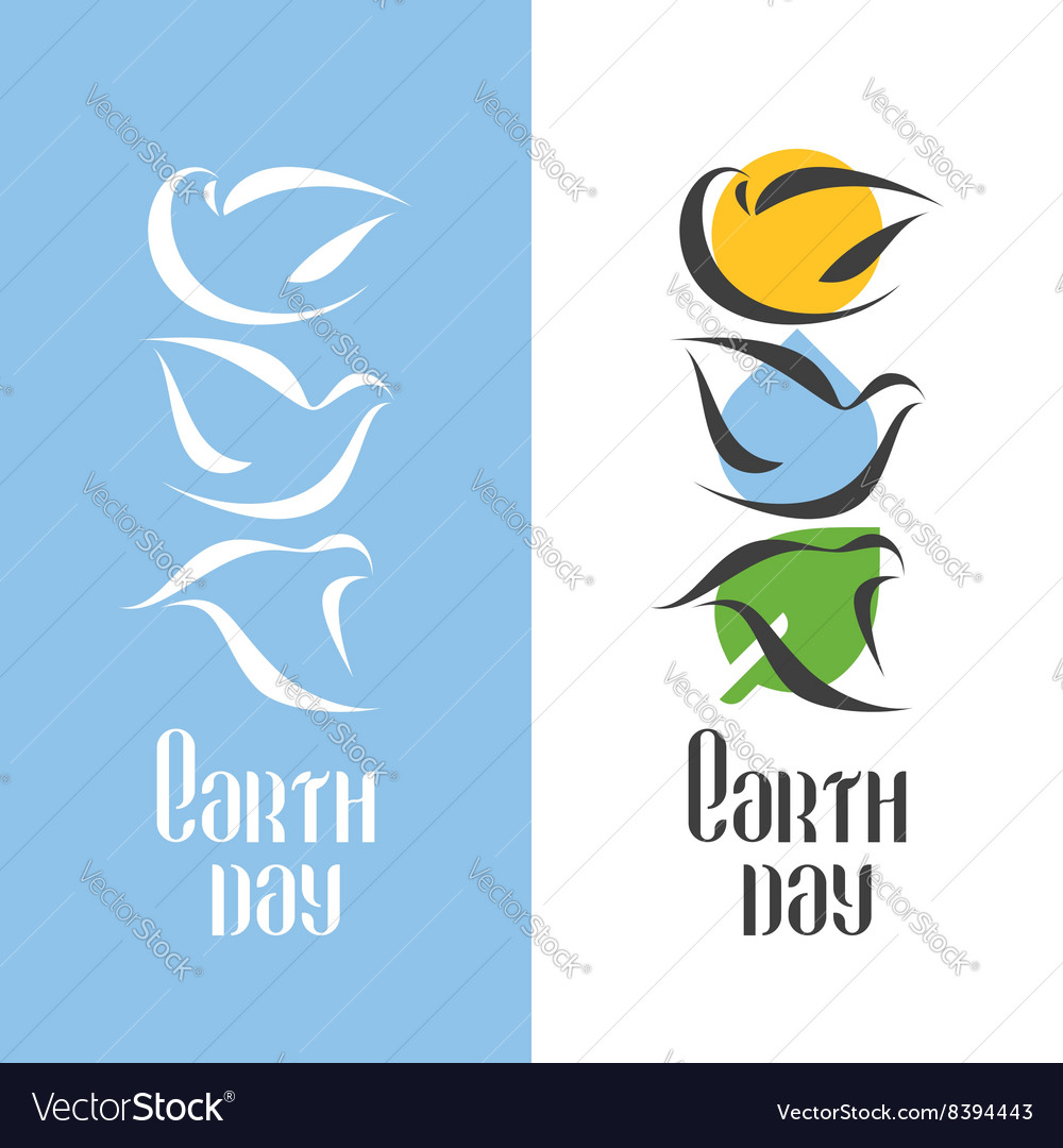 Earth day holiday concept with three doves vector