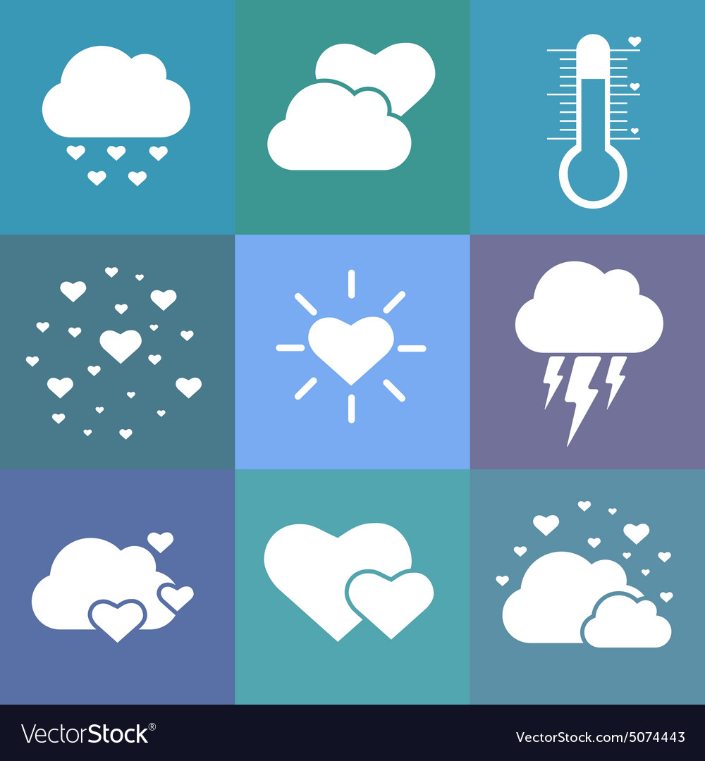 Flat love weather icons vector