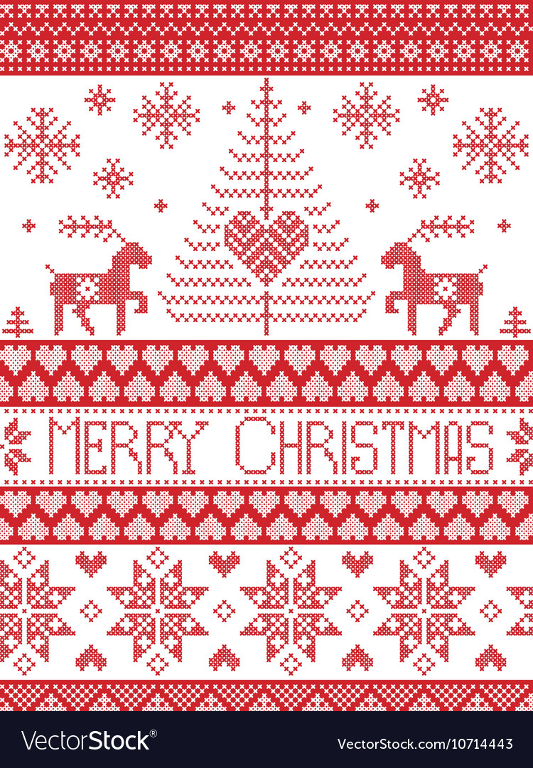 Merry xmas tall xmas pattern with reindeer vector
