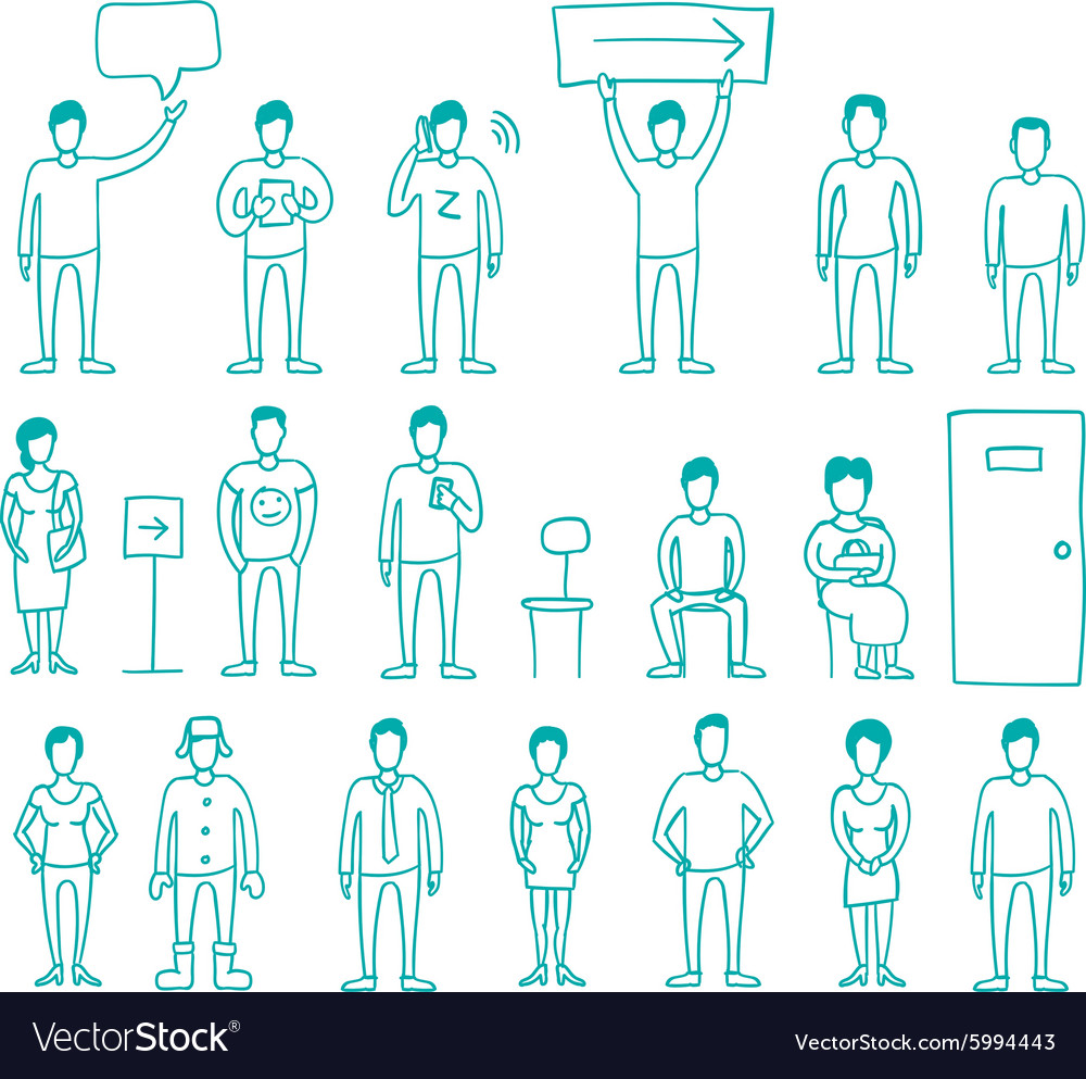 People set drawing hand standing and vector