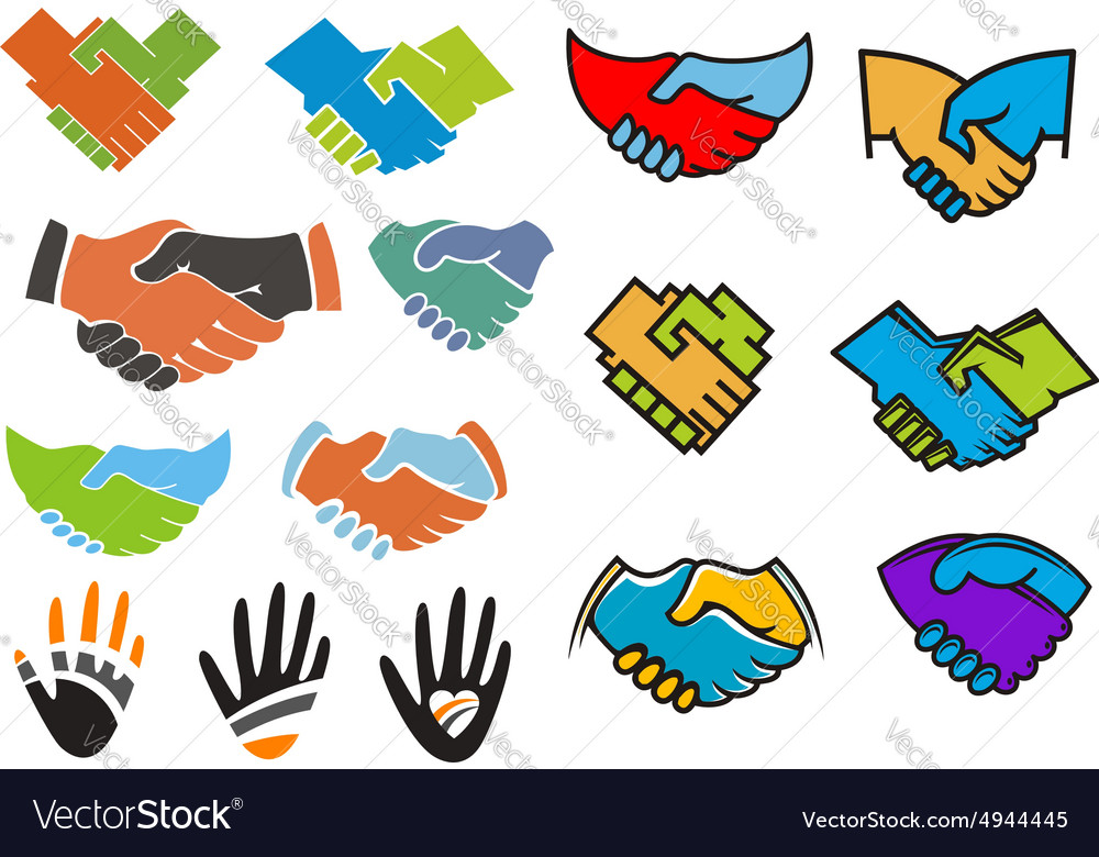 Colorful partnership and friendship symbols vector