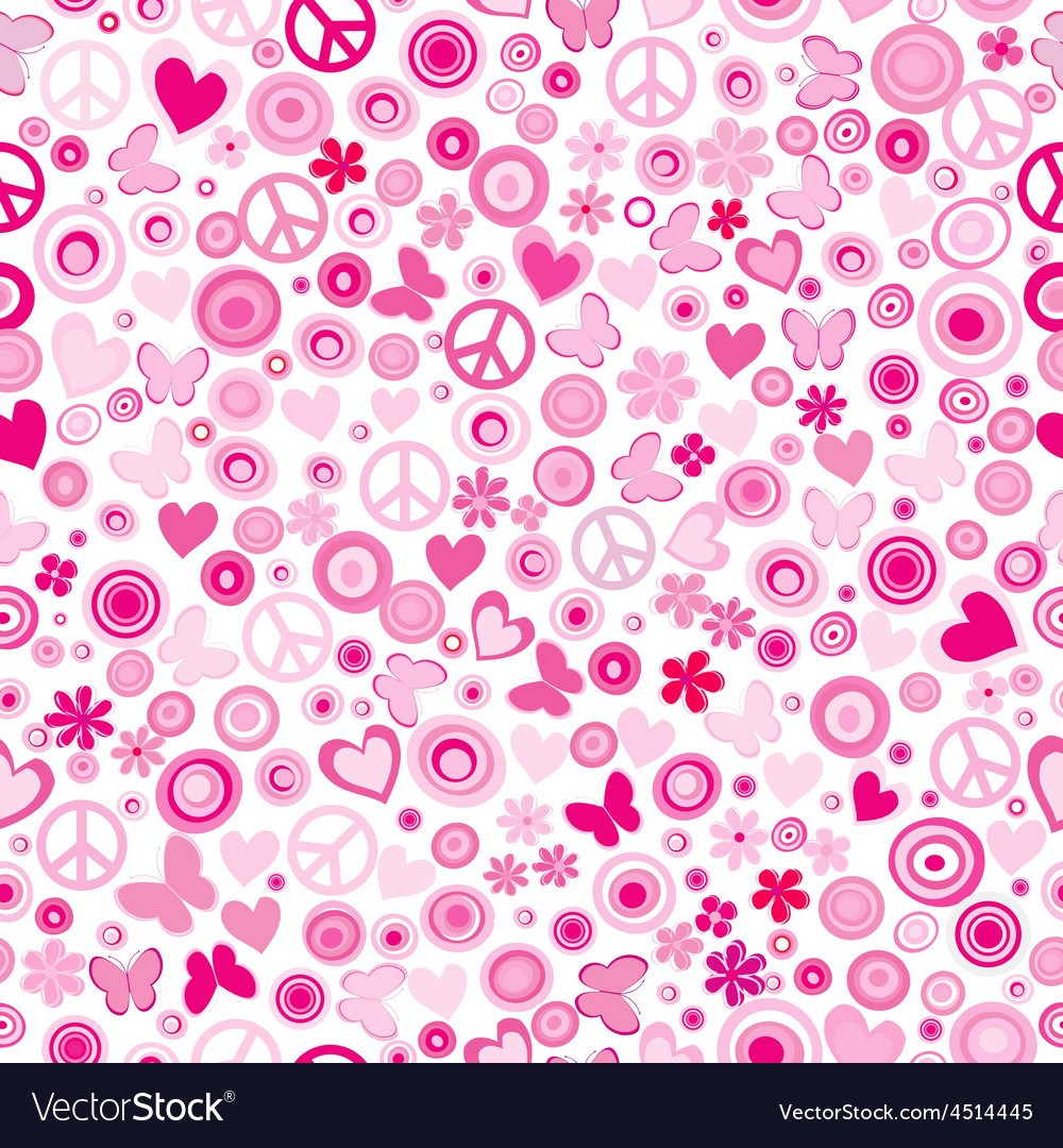 Pink flower power seamless background vector