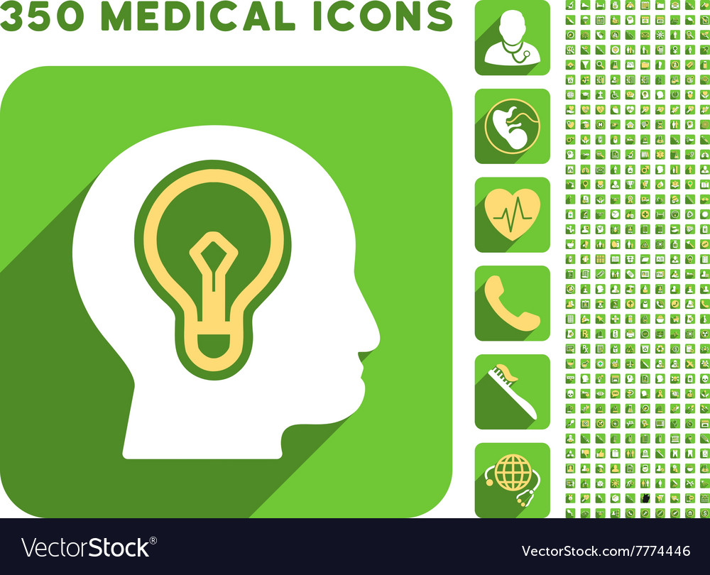 Head idea bulb icon and medical longshadow icon vector