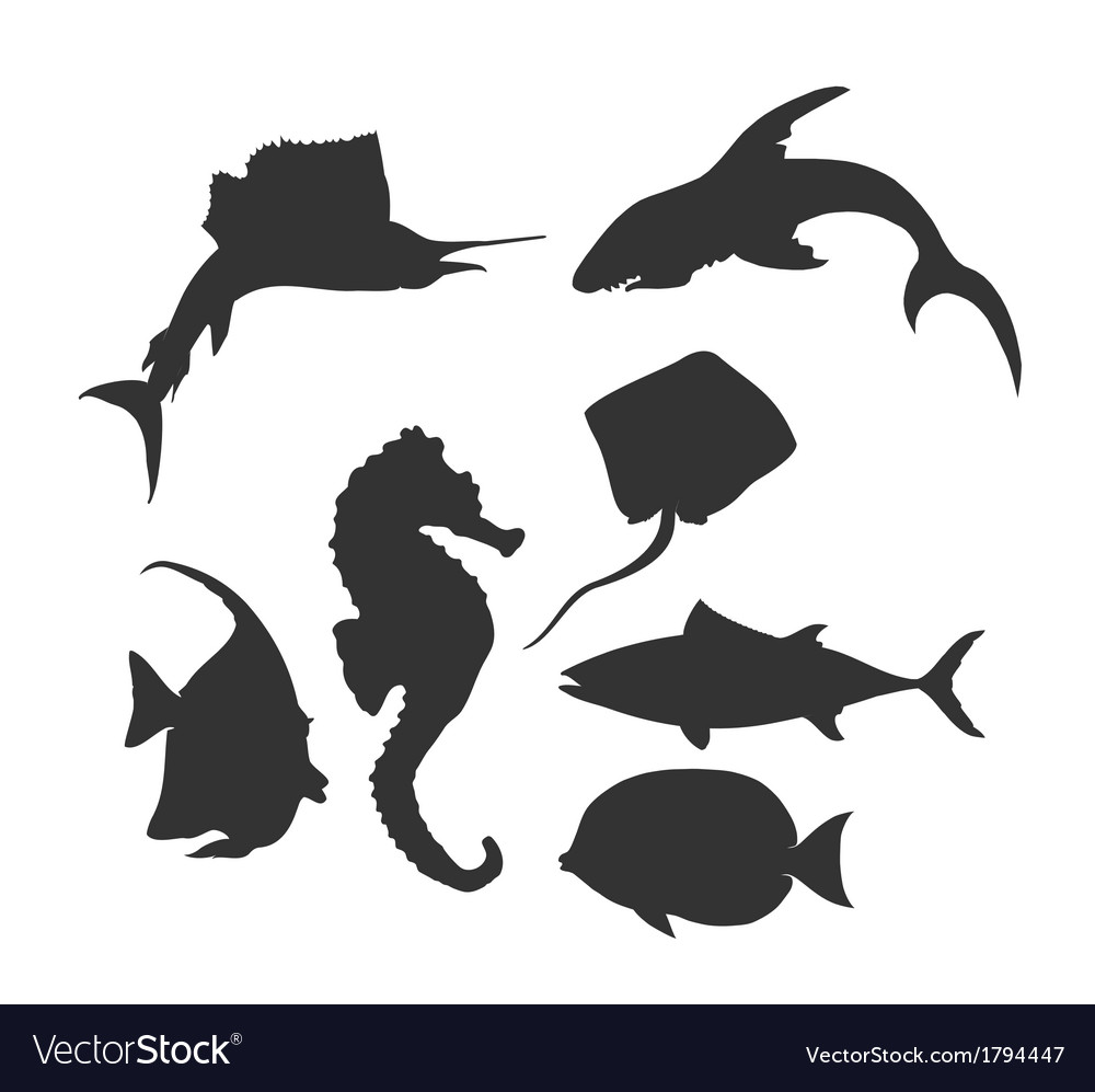 Sea life silhouette vector