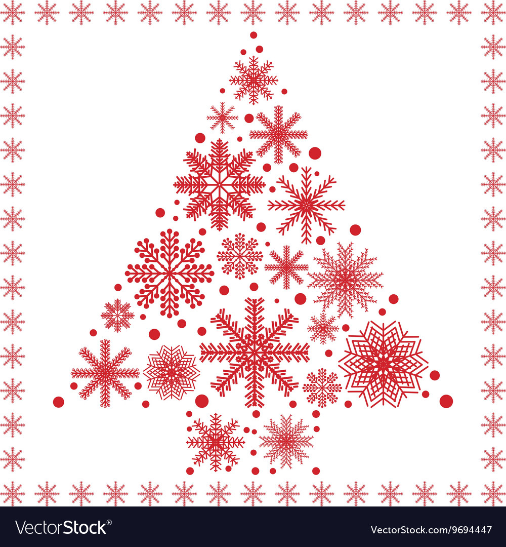 Xmas tree made out of snowflakes vector