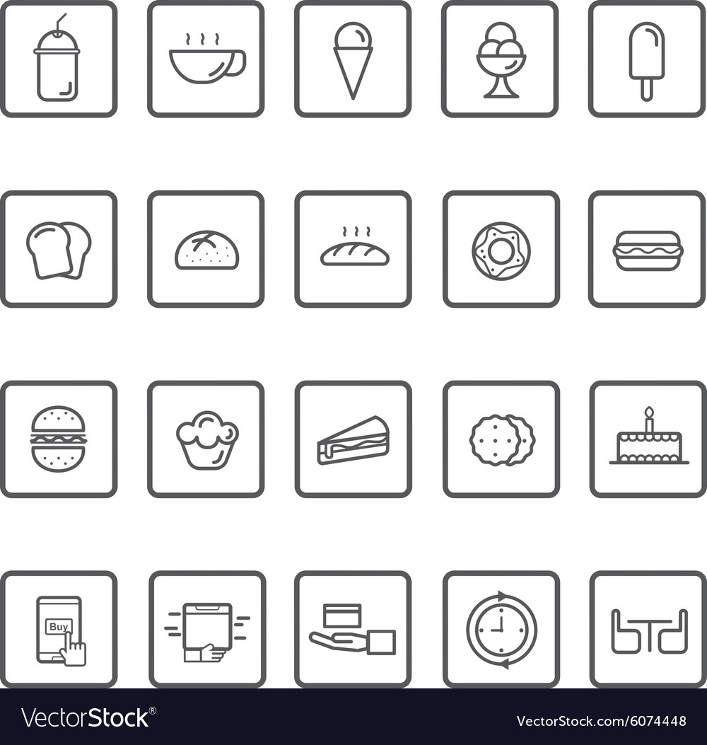 Bakery and ice cream line icon vector