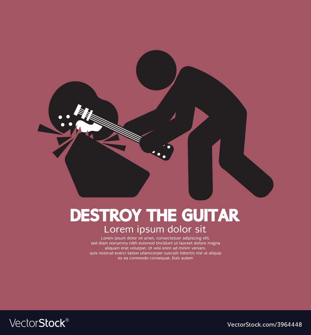 Man destroy the guitar graphic symbol vector