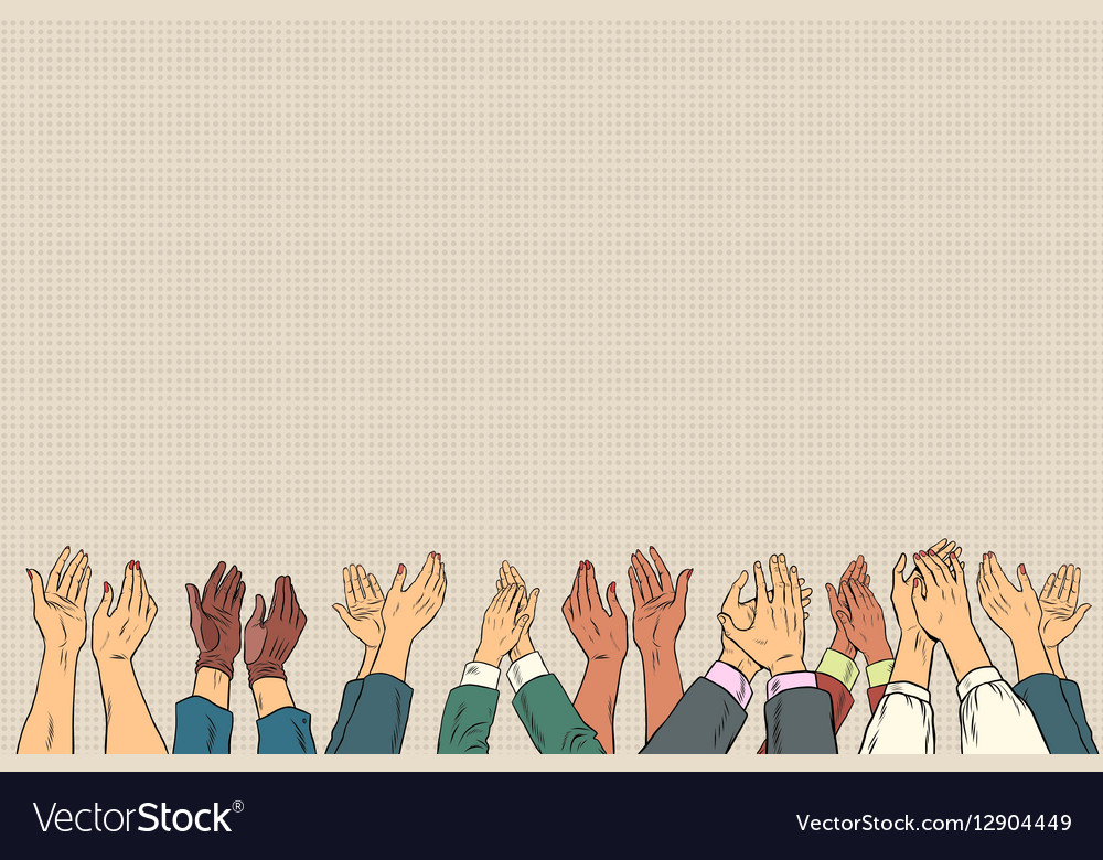 Applause hands up in business conference vector