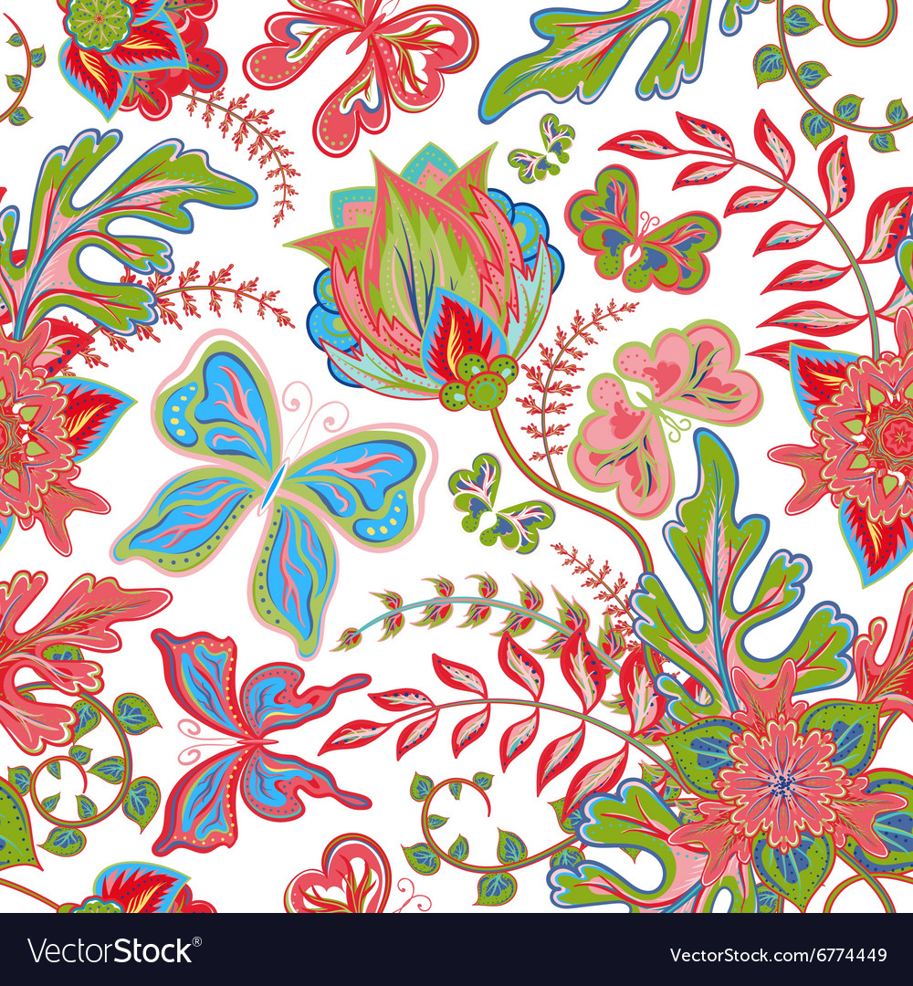 Seamless hand draw butterfly with floral pattern vector