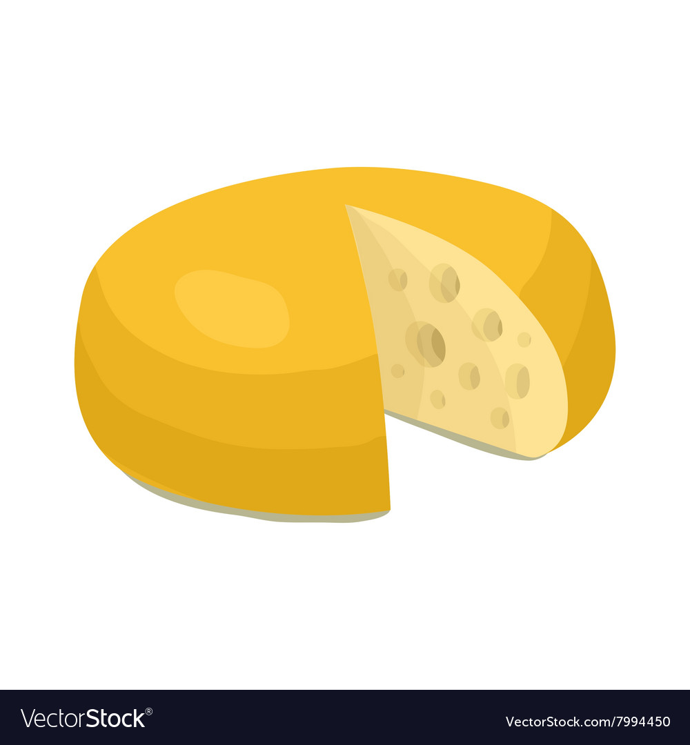 Cheese wheel icon cartoon style vector
