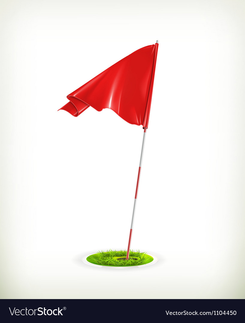 Red golf flag vector