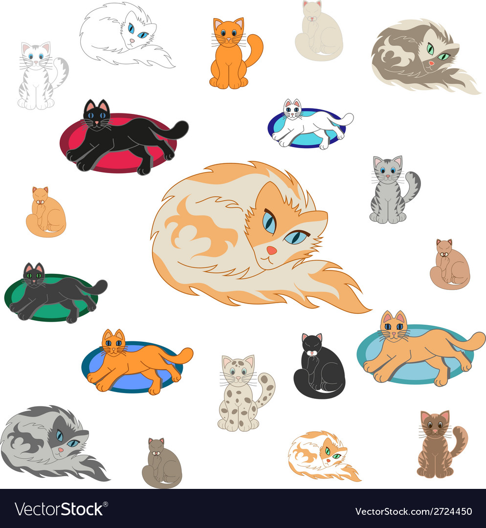 Set of 20 cartoon cats vector