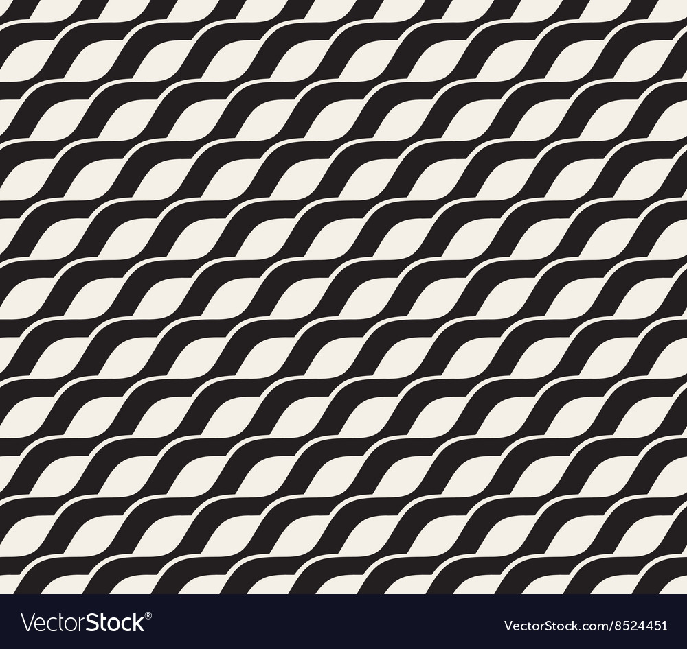 Seamless black and white interlacing wavy vector