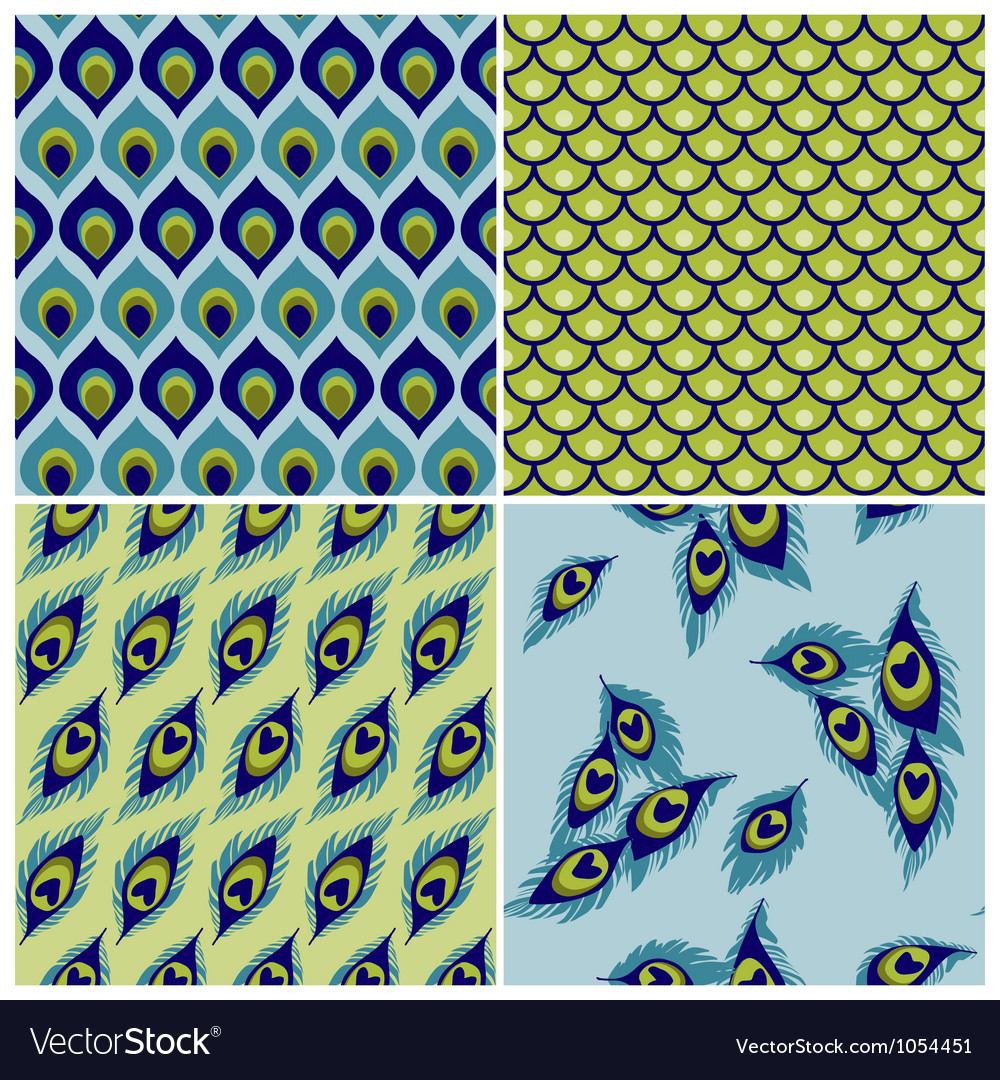 Set of seamless backgrounds  peacock vector