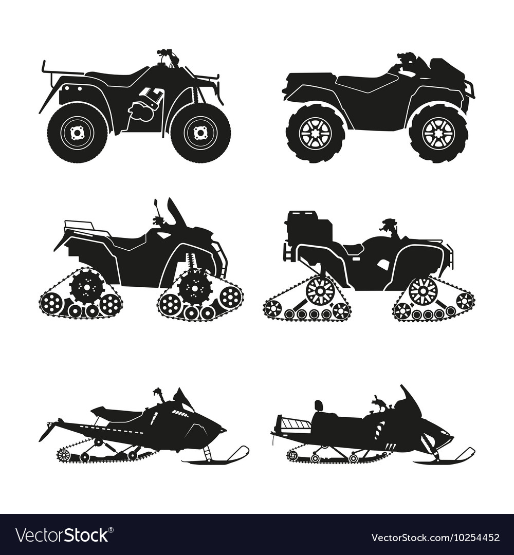 Collection of silhouettes of atv vector
