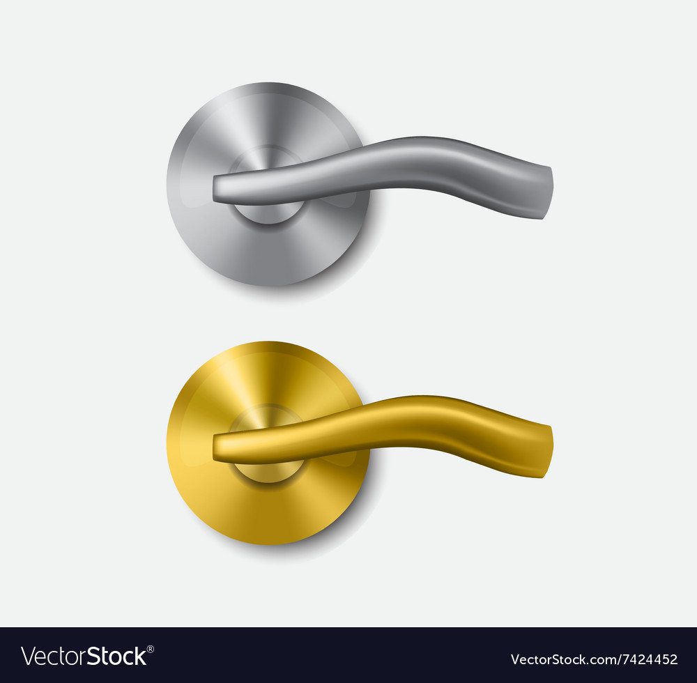 Metal and gold door handle vector