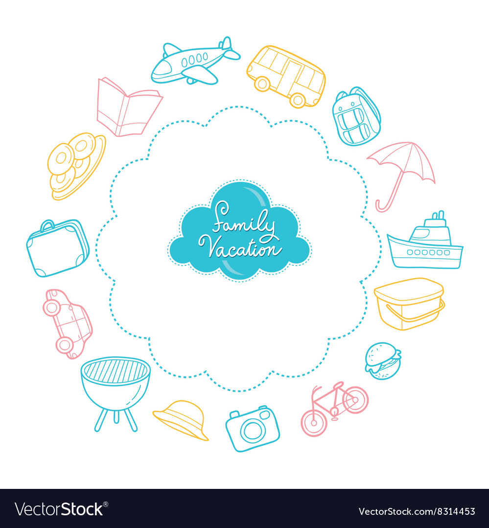 Family vacation objects outline icons vector