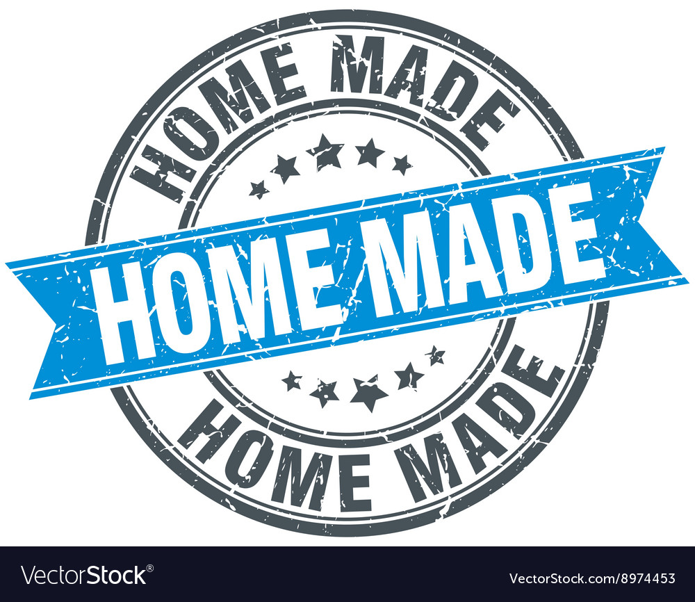 Home made blue round grunge vintage ribbon stamp vector