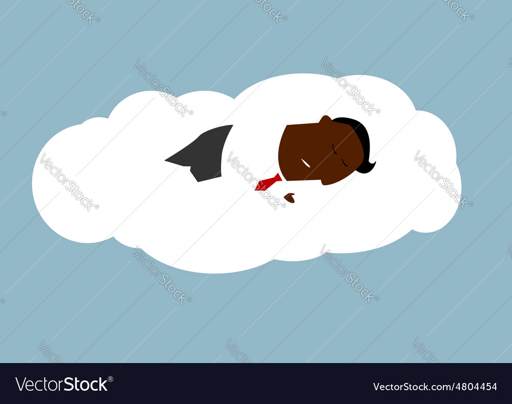 African businessman asleep on a cloud vector