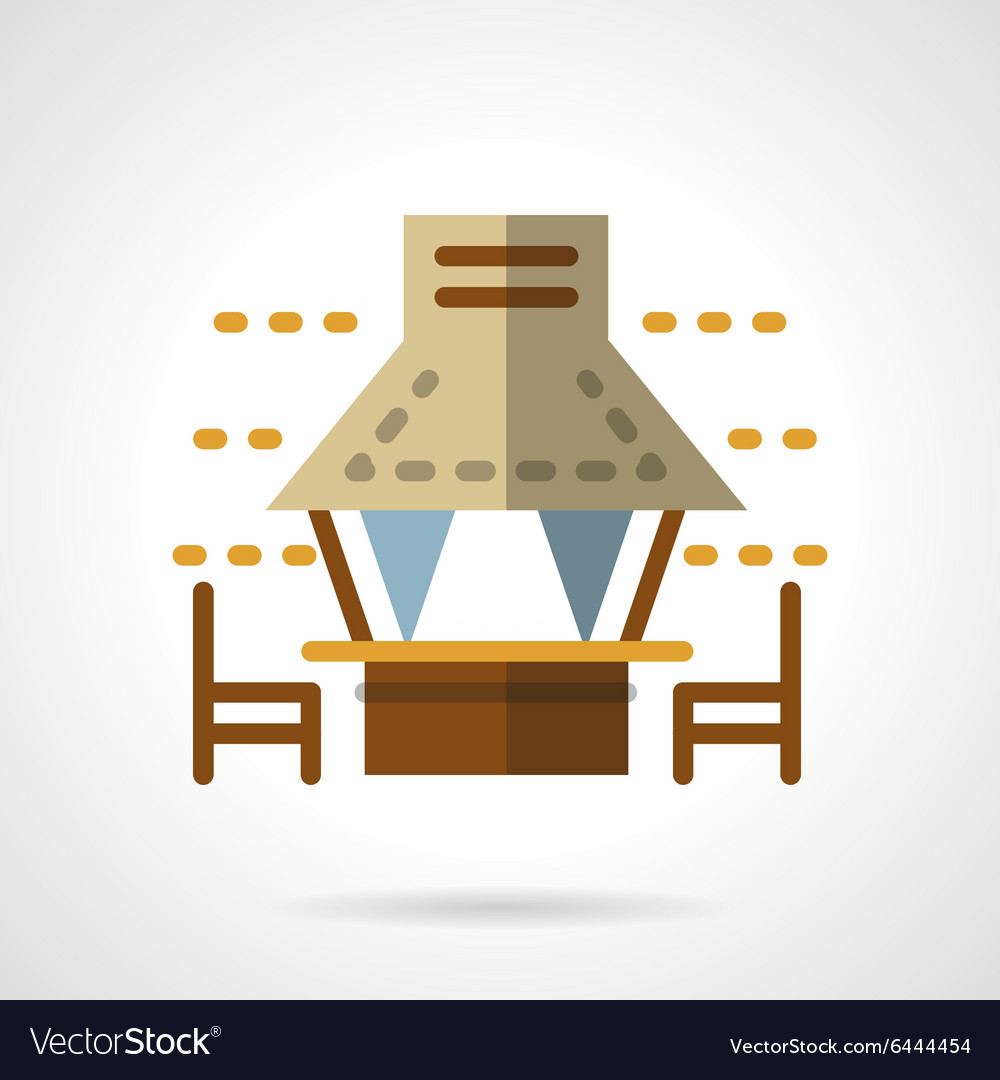 Beach canopies flat color icon vector