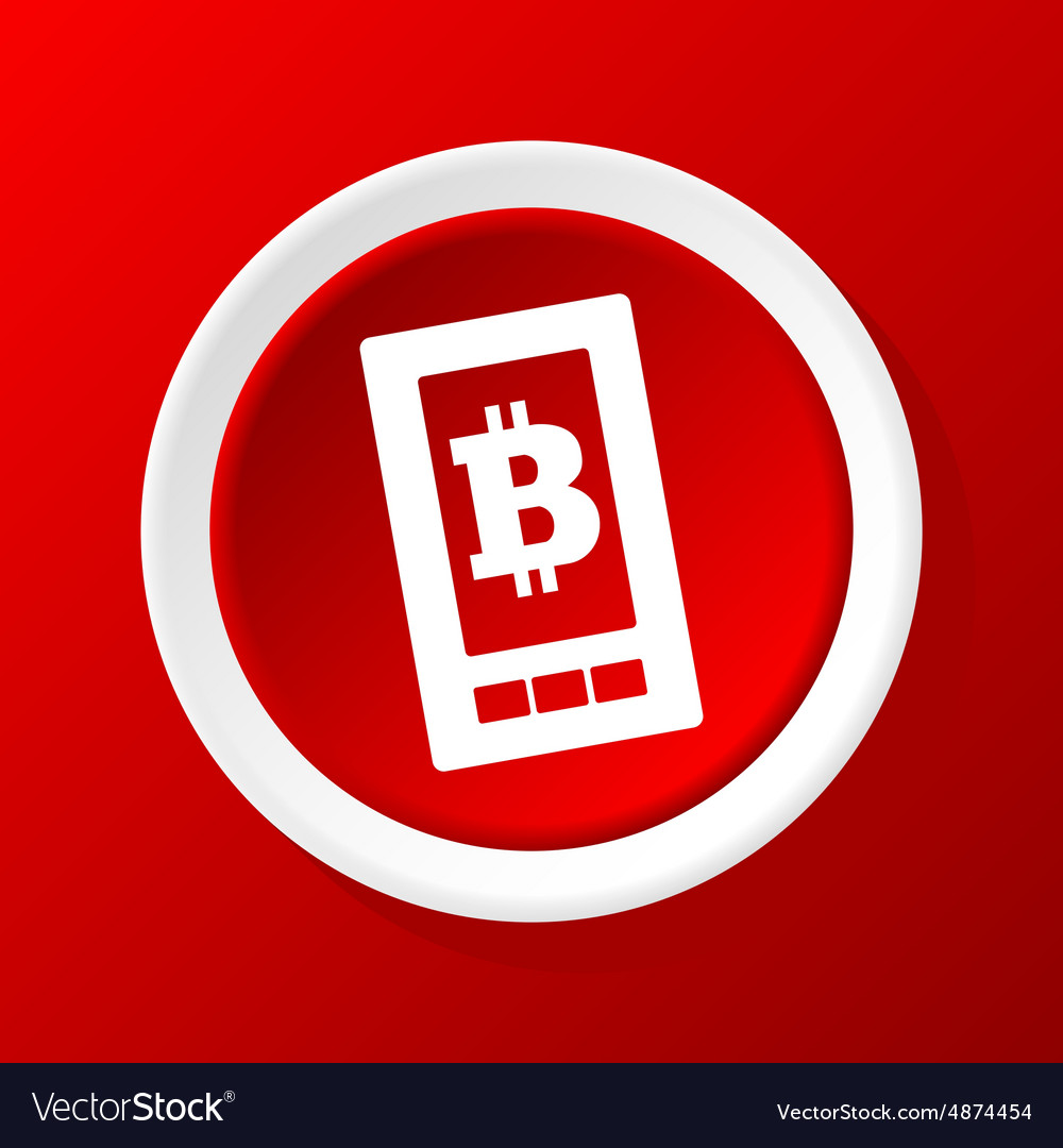 Bitcoin screen icon on red vector