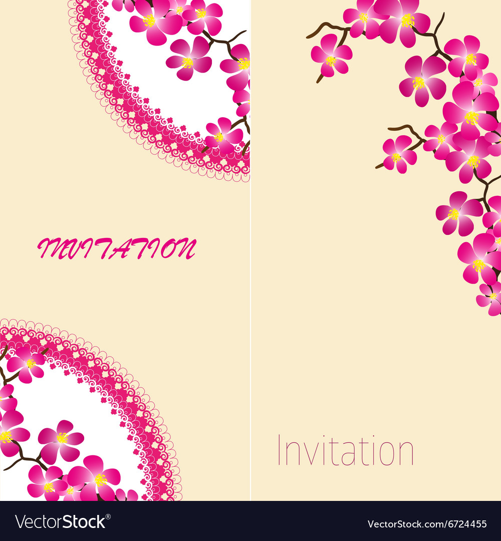 Two invitation vintage card with beautiful sacura vector