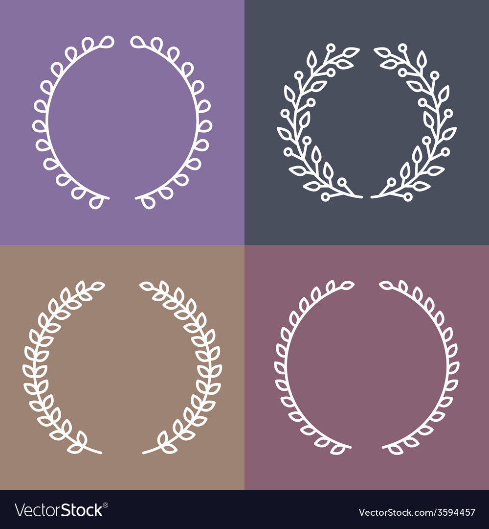 Set of laurel wreaths in outline style vector