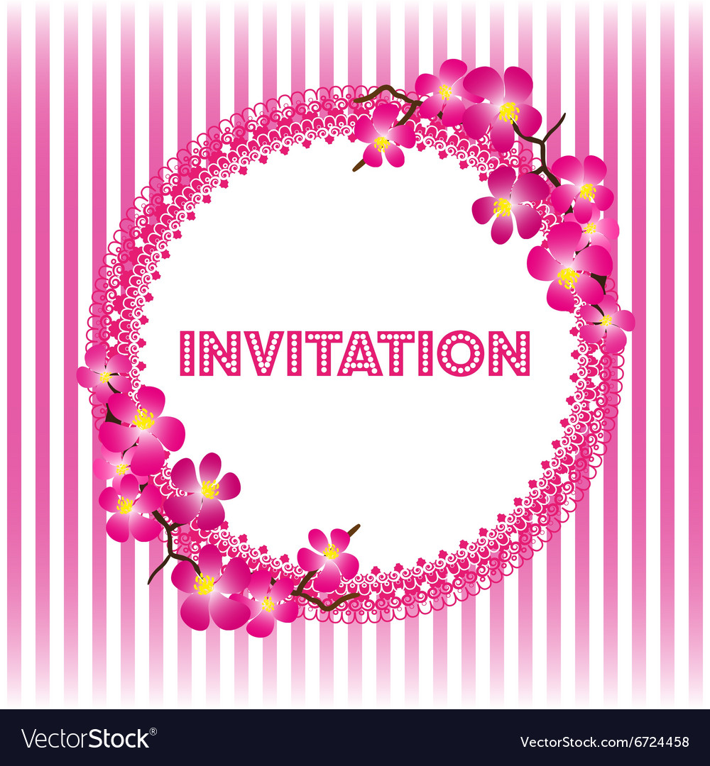 Invitation vintage card with beautiful sacura vector