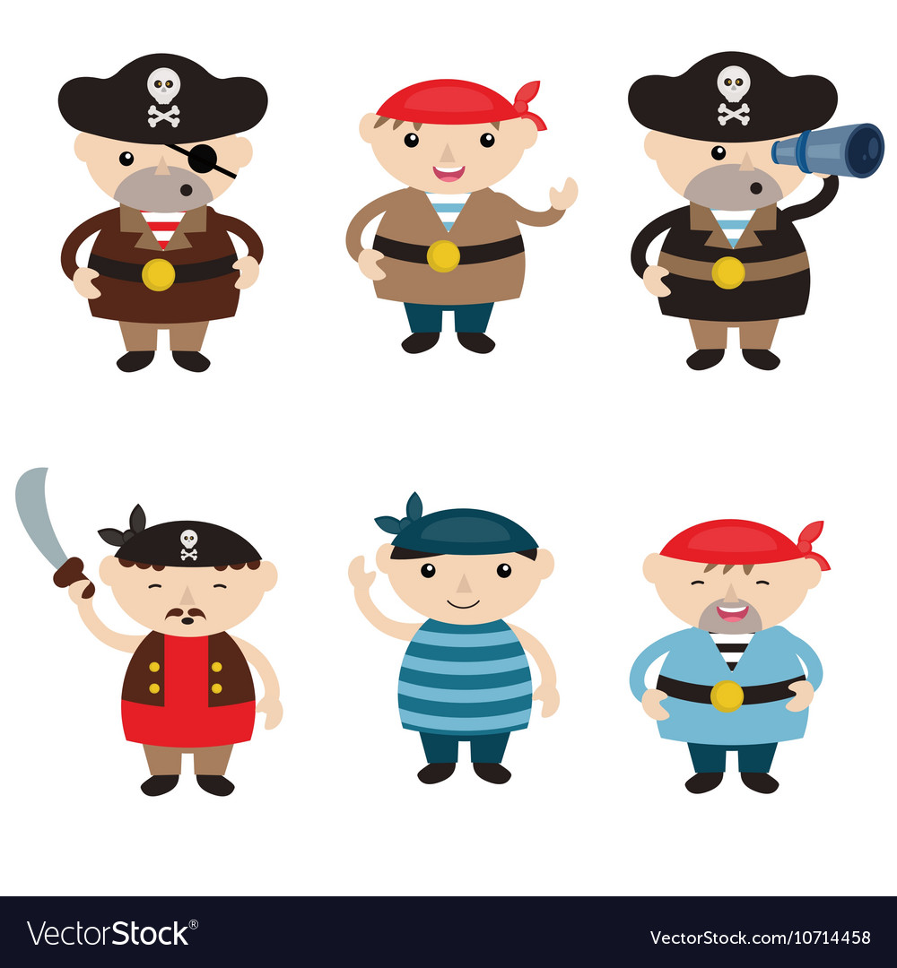 Set of cute cartoon pirates vector