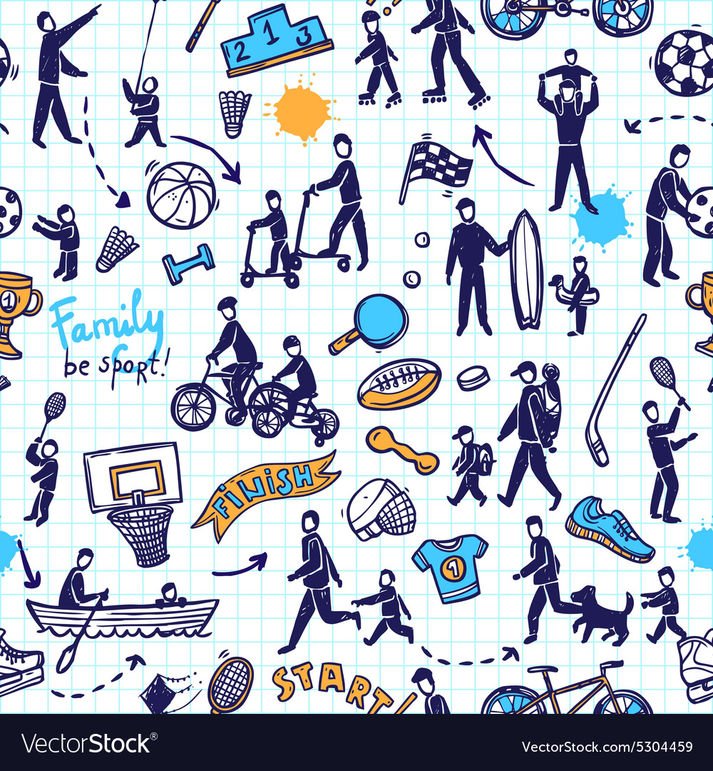 Physical activity seamless pattern vector