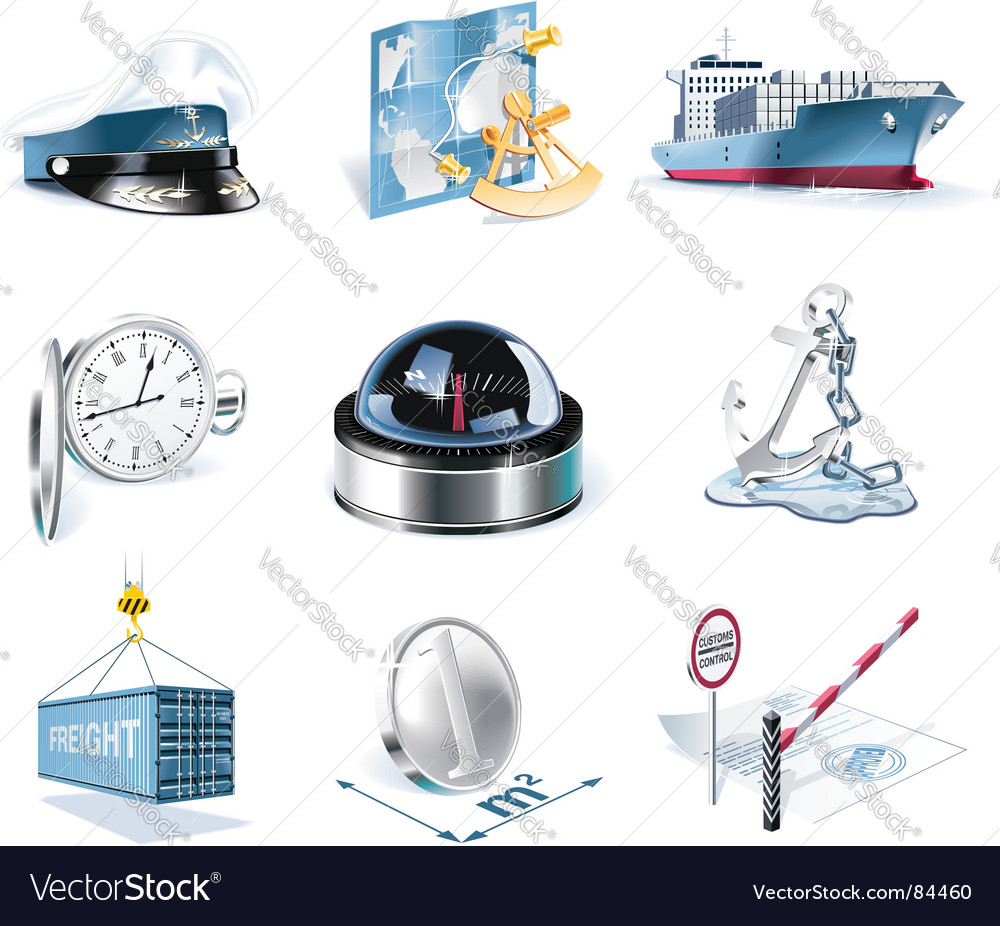 Marine transportation icons vector