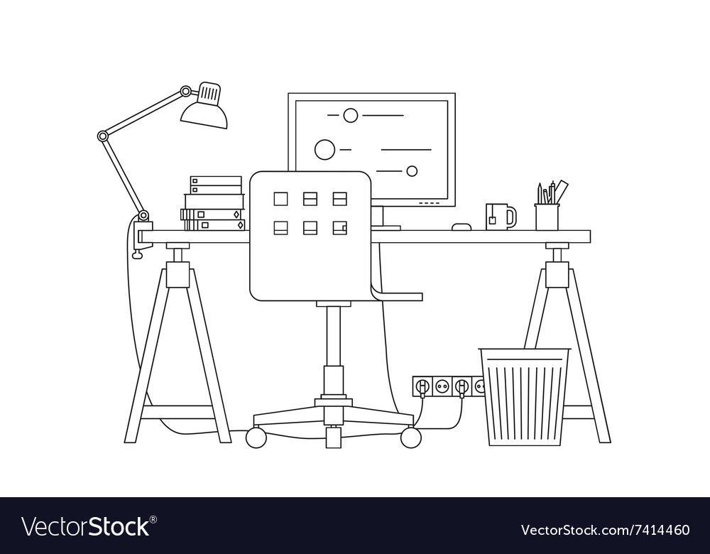 Workplace thin line vector