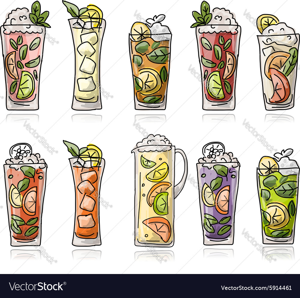 Cocktails collection sketch for your design vector