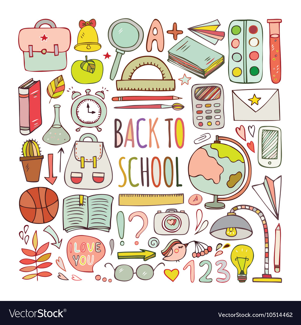 Back to school big doodles set vector