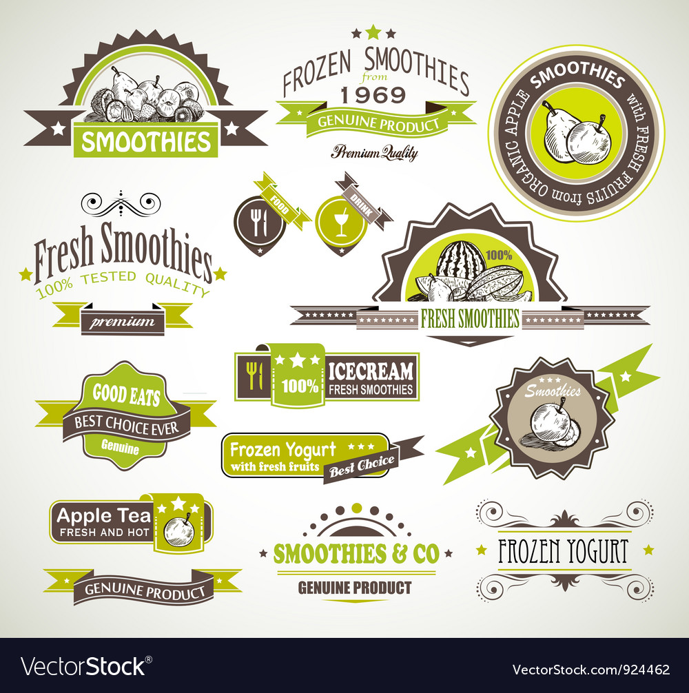 Fruit product labels vector