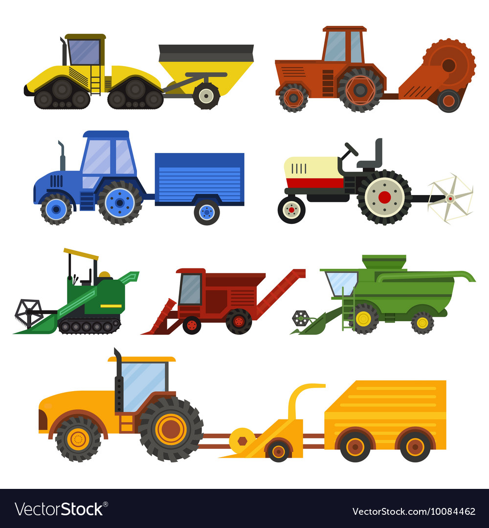 Harvester machine set vector