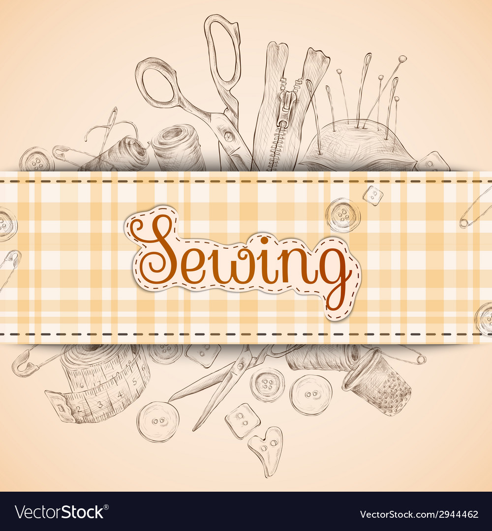 Sewing paper card vector