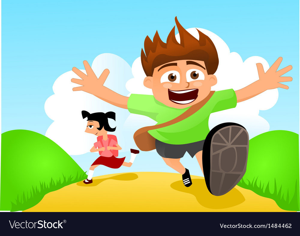 Two happy kids running to school vector