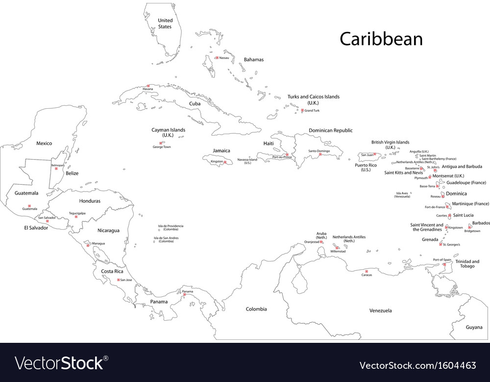 Outline caribbean map vector