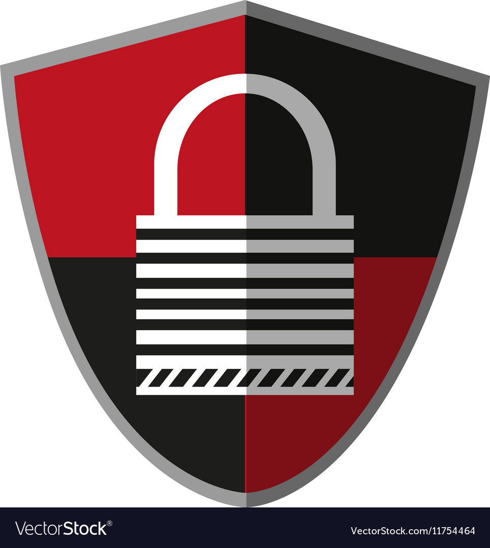Isolated padlock inside shield design vector