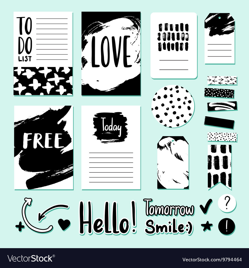 Modern card tag and sticker set for vector